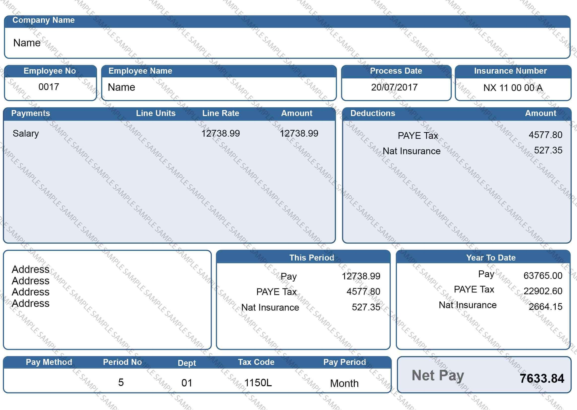 Blue Payslip Design 1 Digital Only Copy Year Of Dates Bank Statement Sample