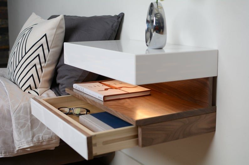 Modern Nightstand Floating Nightstand Floating Night Stand Etsy In 2020 Modern Bedside Table Modern Nightstand Contemporary Nightstand