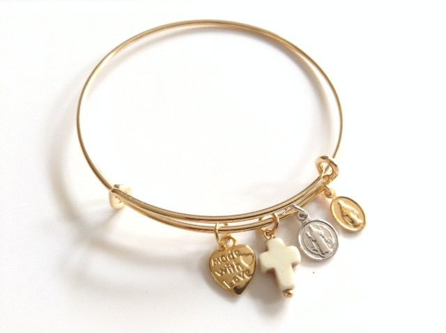 Gold expandable bracelet - Catholic Jewelry - Santos