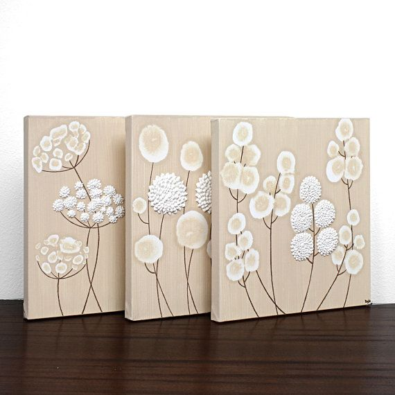 Neutral canvas art textured flower paintings in khaki and white set of three wall