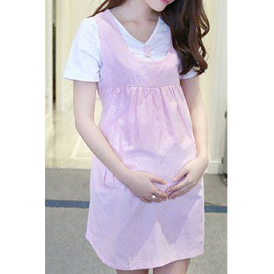 Sweet Scoop Collar Polka Dot Two Button Pregnant Dress + Pure Color Tee Twinset For Women #shoes, #jewelry, #women, #men, #hats, #watches