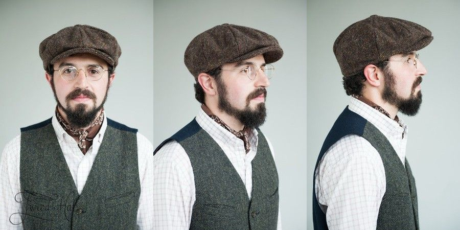 b2dac72fad52 Brown Tweed 8-piece Cap by Hanna Hats. Peaky Blinders style authentic  newsboy cap