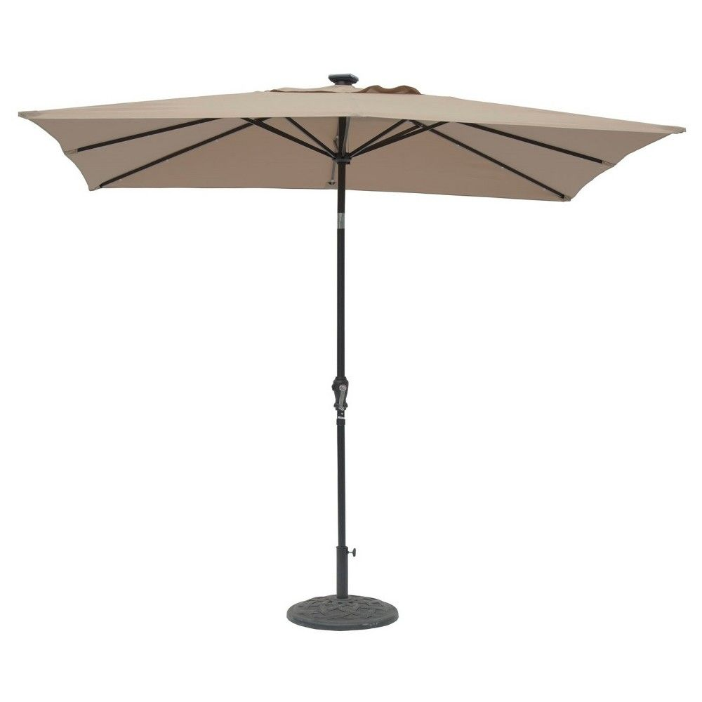 Rectangular Patio Umbrella With Solar Lights Sunray 9' X 7' Rectangular Solar 30 Led Lighted Aluminum Patio
