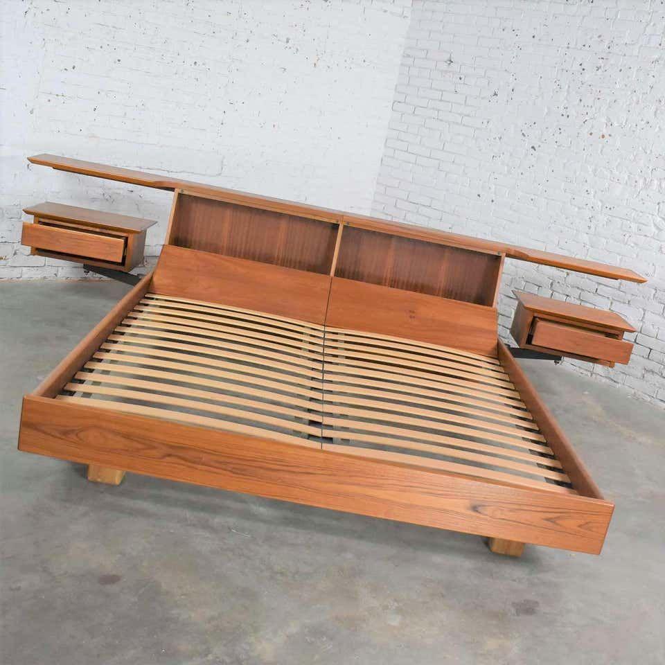 Teak Scandinavian Modern Cal King Storage Platform Bed And Swing Arm Nightstands Platform Bed California King Platform Bed California King Bed Frame