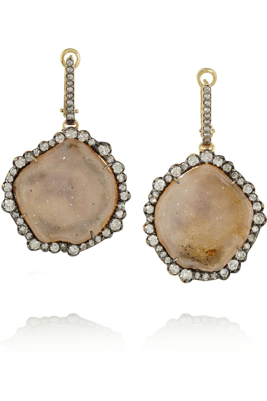 18-karat Gold, Diamond And Geode Earrings - one size Kimberly McDonald