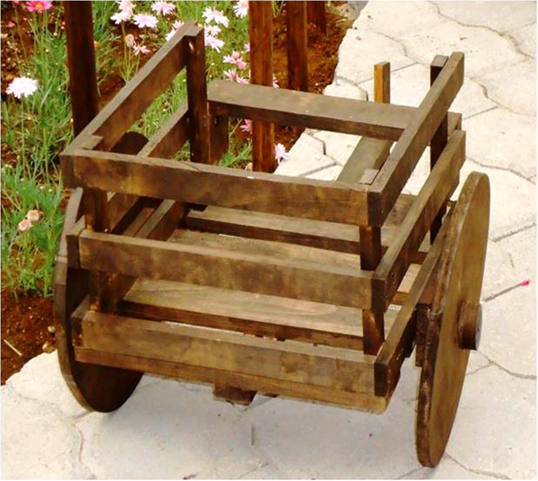 carreta de madera porta maceta ideal para el jard n o en el interior de la casa u oficina