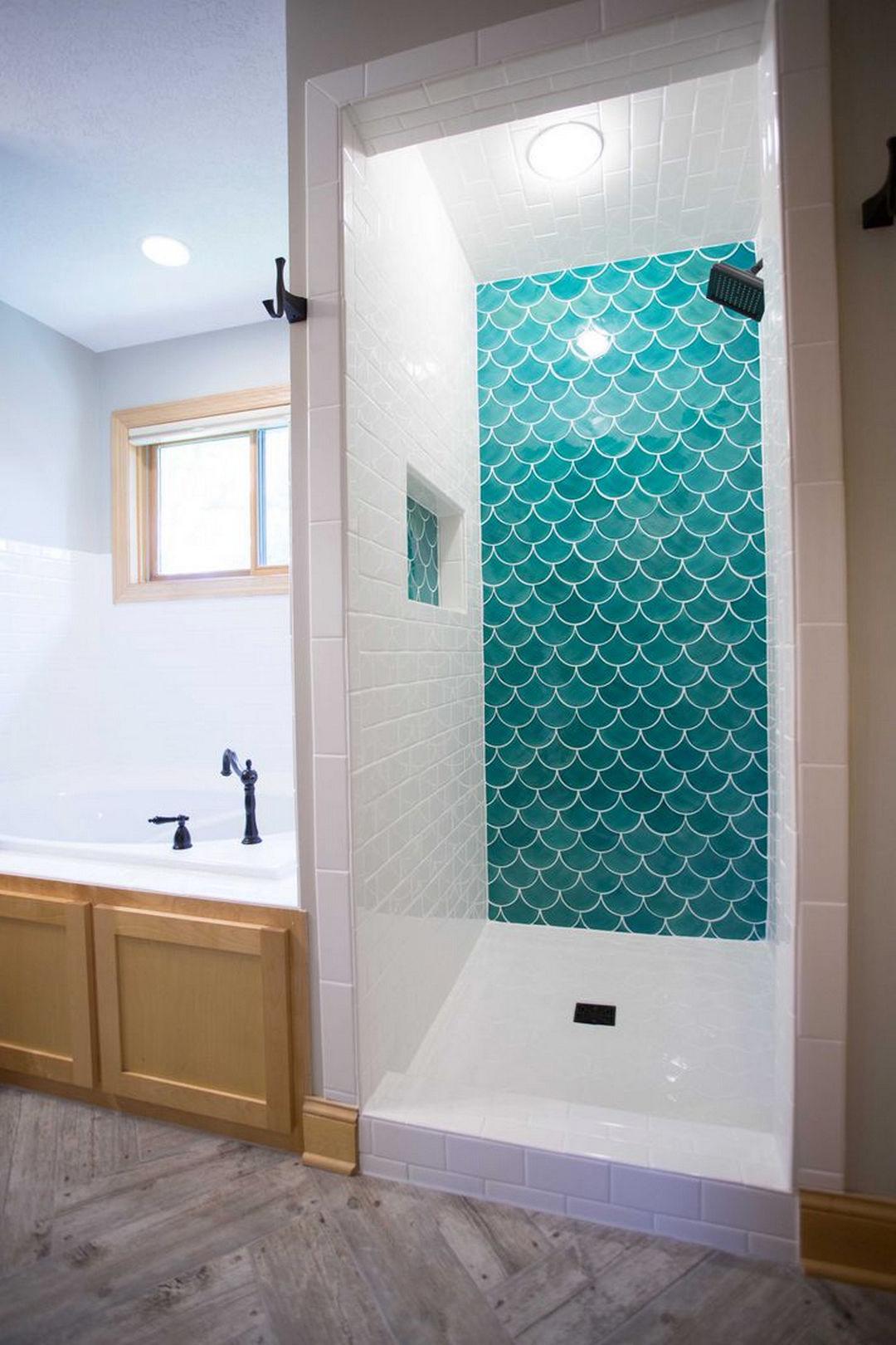 38 Beautiful Fish Scale Tile Bathroom Ideas   Fish scale tile ...