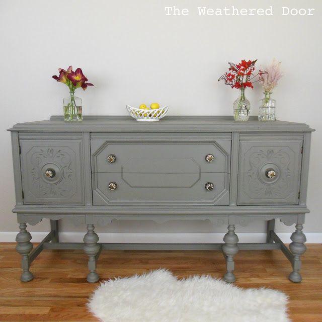 Beautiful Furniture Redo · The Weathered Door: A Gauntlet Grey Buffet Gauntlet Gray. Sherwin  Williams.