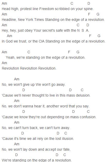 Nickelback Edge Of A Revolution Chords Nickelback Pinterest