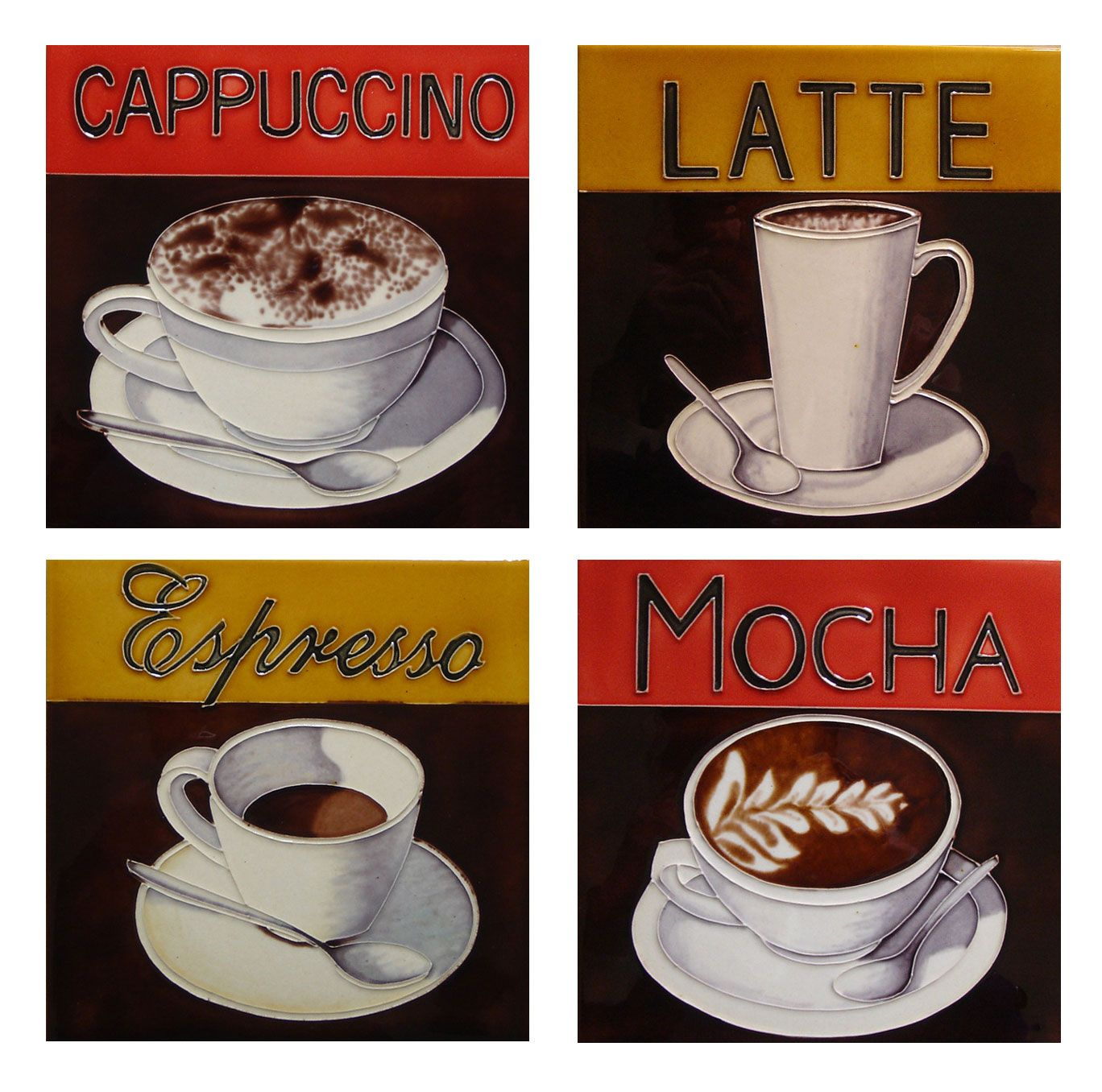 Funky Coffee Lover Gifts Ceramic Tile Retro Vintage