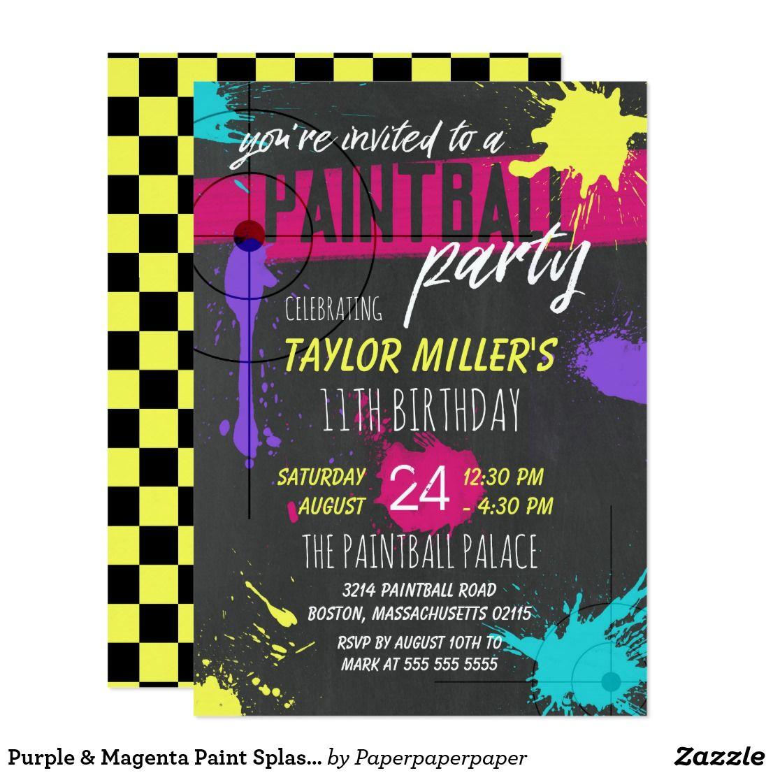 Purple & Magenta Paint Splash Paintball Party Invitation | Zazzle ...