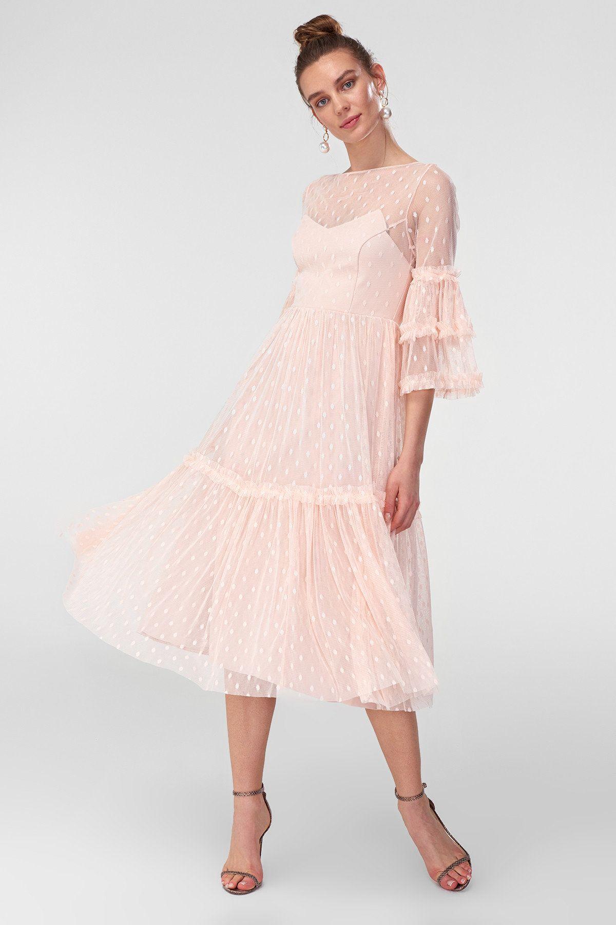Https Www Trendyol Com Trendyolmilla Pudra Puantiye Tullu Abiye Elbise P 2474882 Boutiqueid 186392 The Dress Elbise Elbiseler