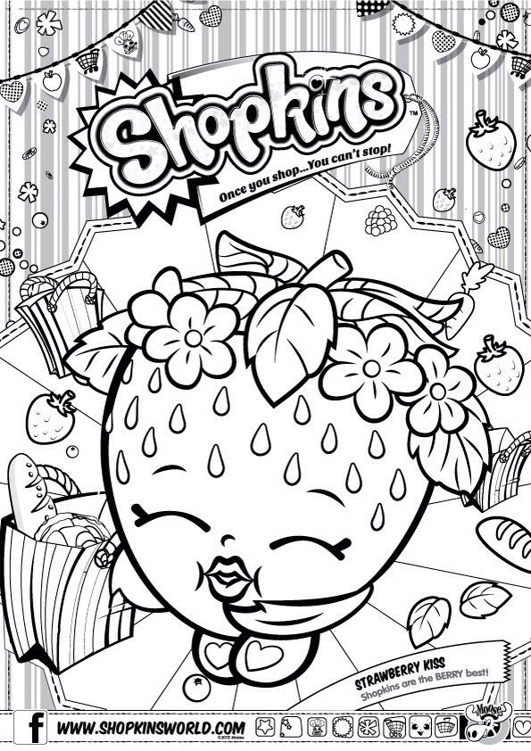 Shopkins Colour Color Page Strawberry Kiss Shopkinsworld Warna