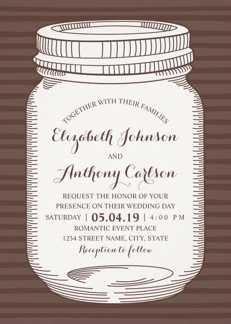 Vintage Mason Jar Wedding Invitations - Unique Rustic Country Cards ...