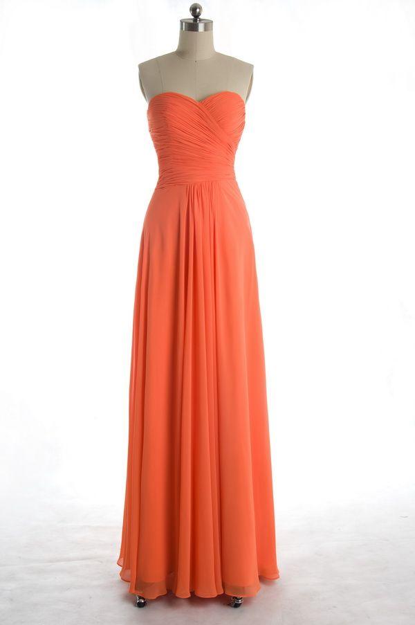e46f81f36af Simple Flowy Peach Pleated V-neck Bridesmaid Dress  TBQP099  -  149.00    Custom Made Wedding
