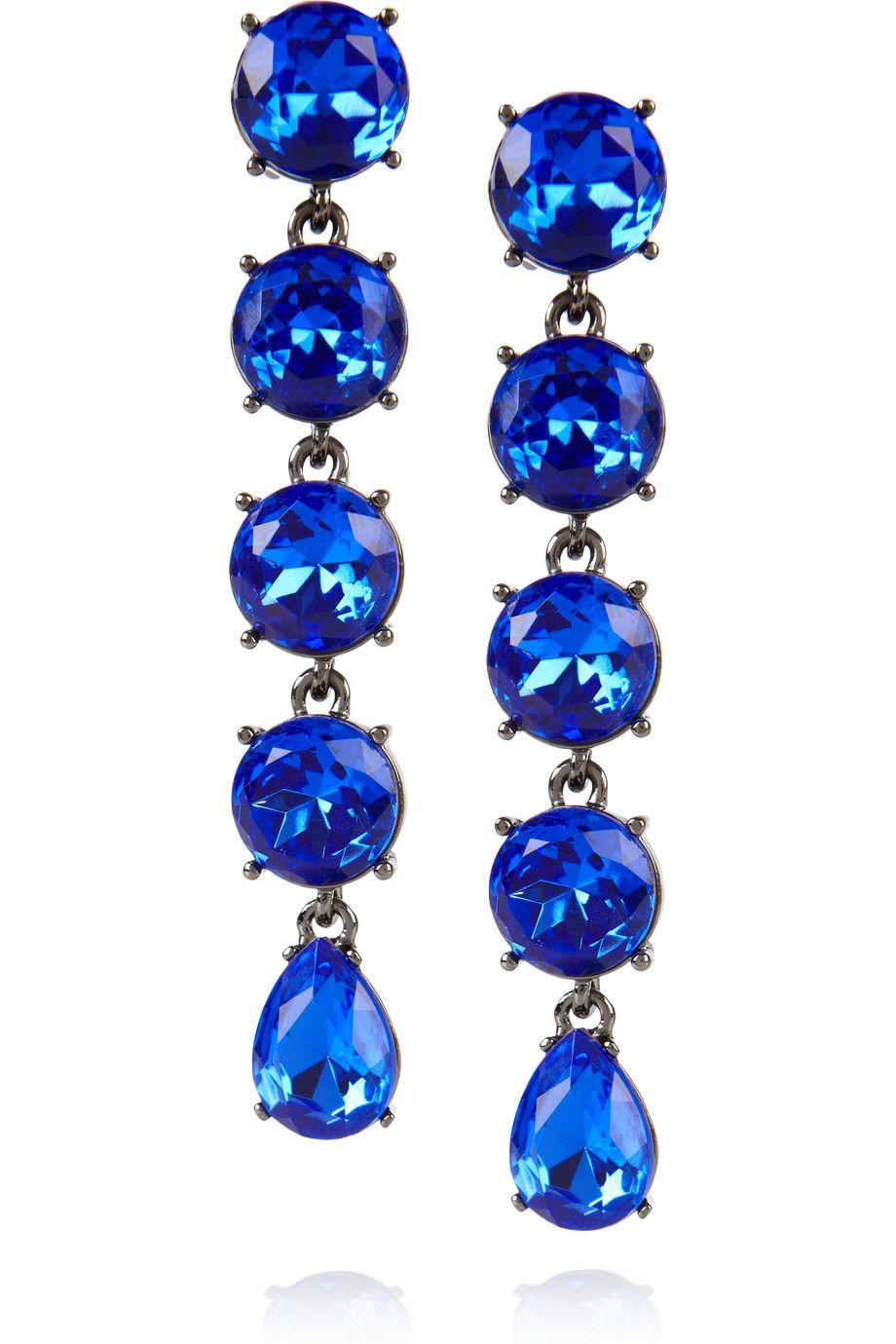 Oscar de la Renta- Gunmental-tone drop clip earrings