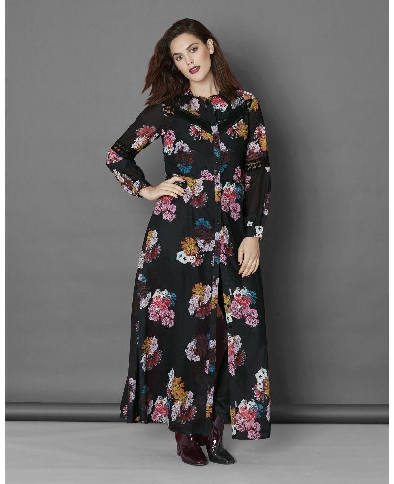 Simply Be Black Floral Maxi Shirt Dress | Feel So Real Fall ...