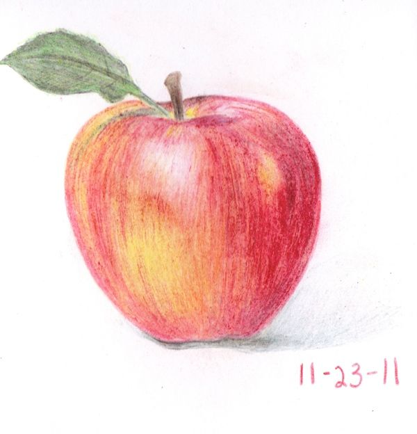 Crayon Drawing Fruit Red Apple
