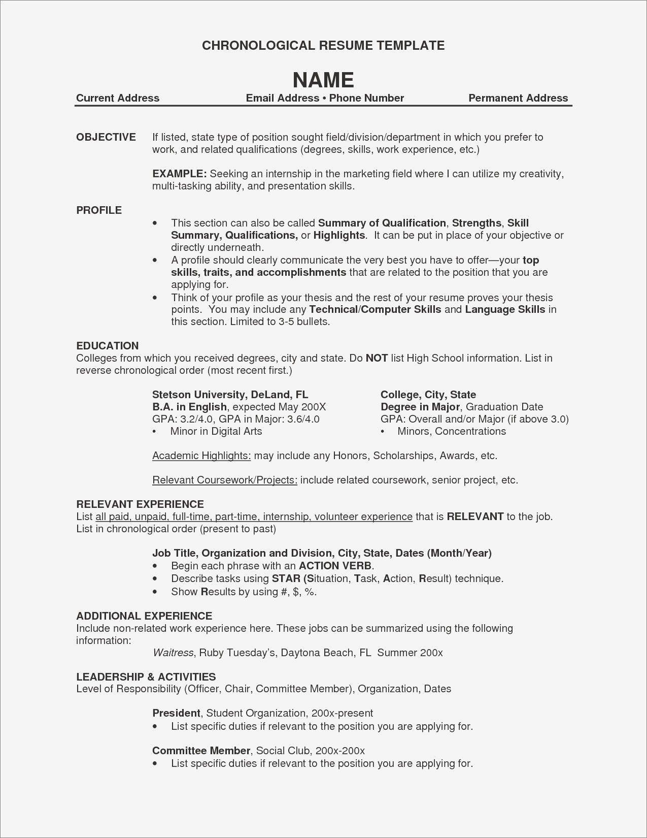 Chronological Resume Sample Program Director Coordinator