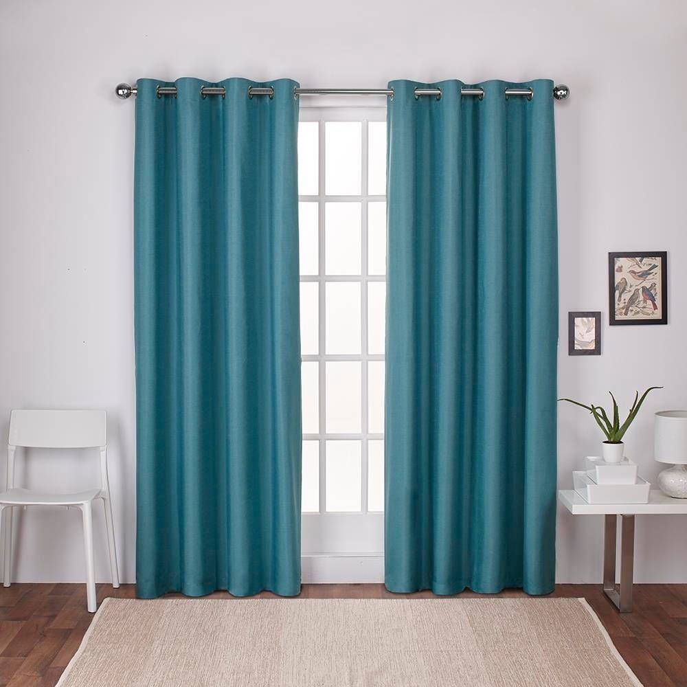 Exclusive Home Kids Textured Linen Thermal Grommet Top Window Curtain Panel Pair Bubble Gum Pink Blue
