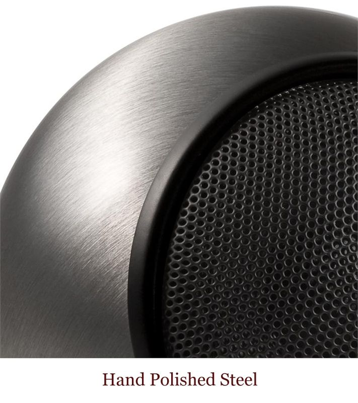 Hand Polished steel finish on Orb Audio speaker proudly made in USA. For a full selection of our small speakers for both houses and apartments, visit www.OrbAudio.com