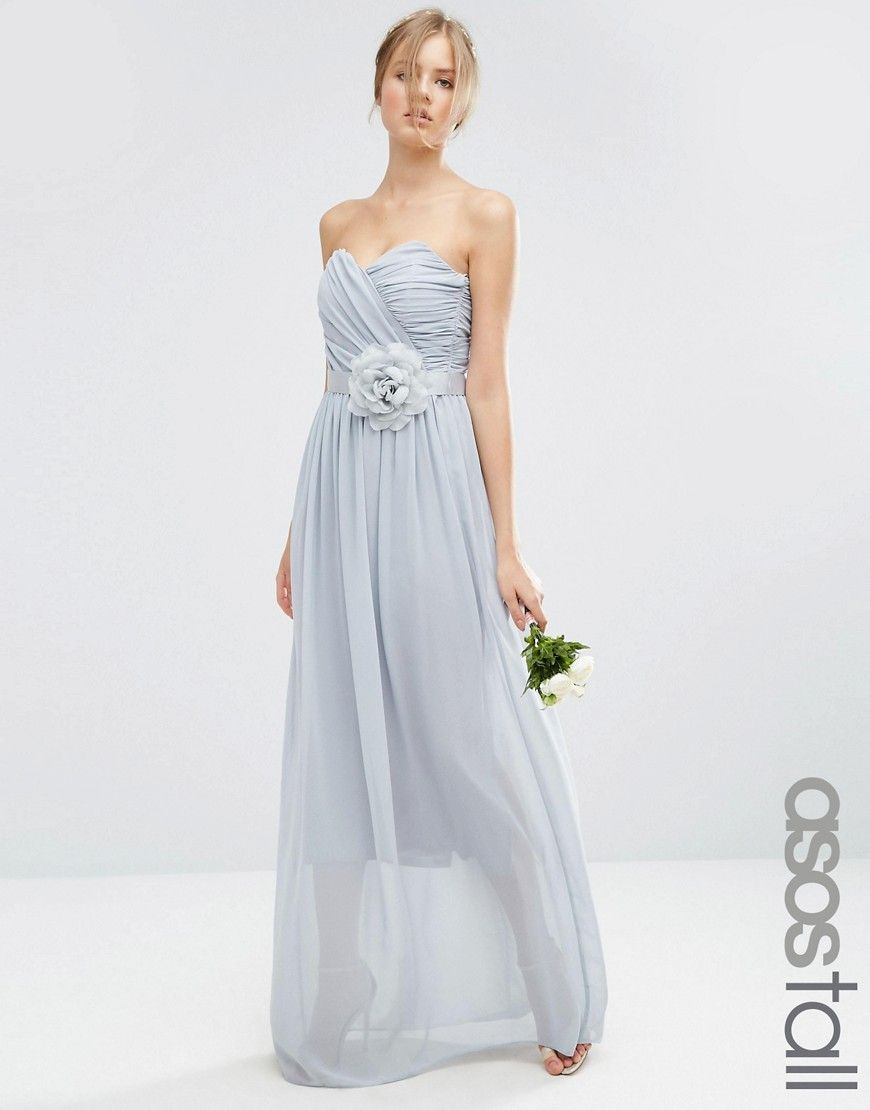 Image 1 ofASOS TALL WEDDING Chiffon Bandeau Maxi Dress