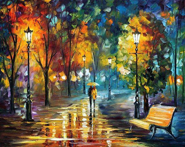Qué hermosos colores, qué intensidad.  Pintura de Leonid Afremov