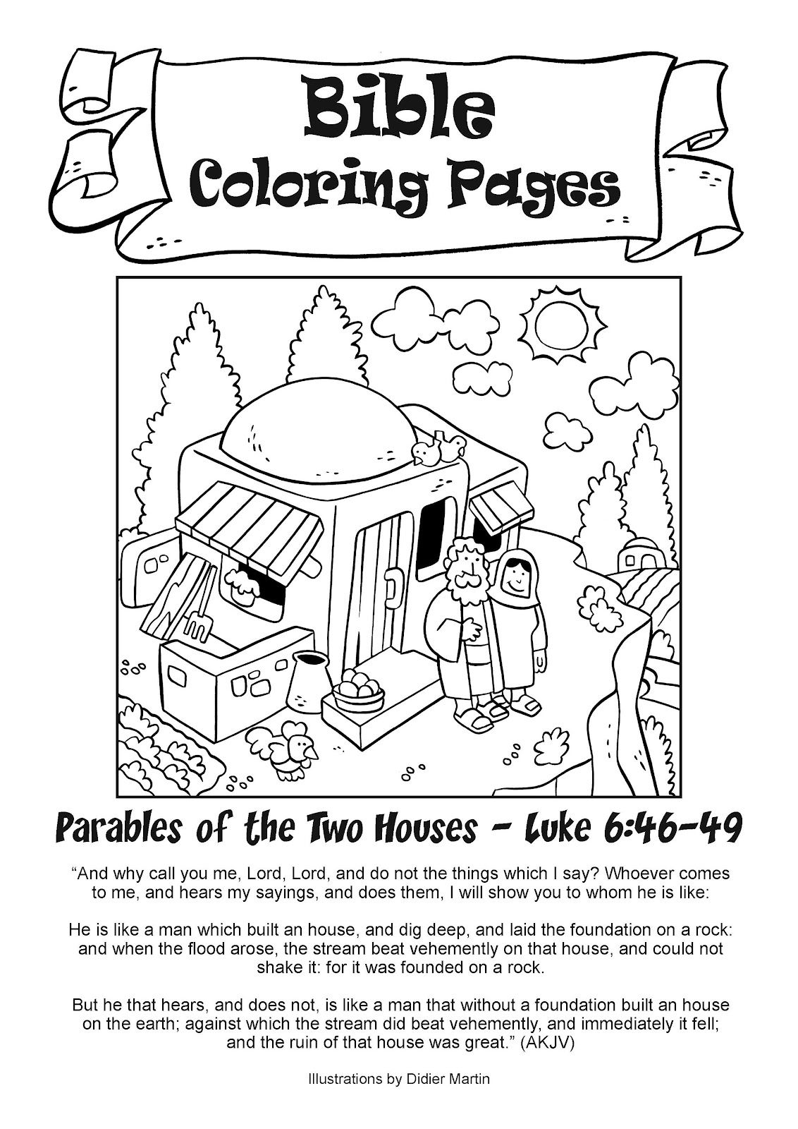 My little house bible coloring pages the two houses