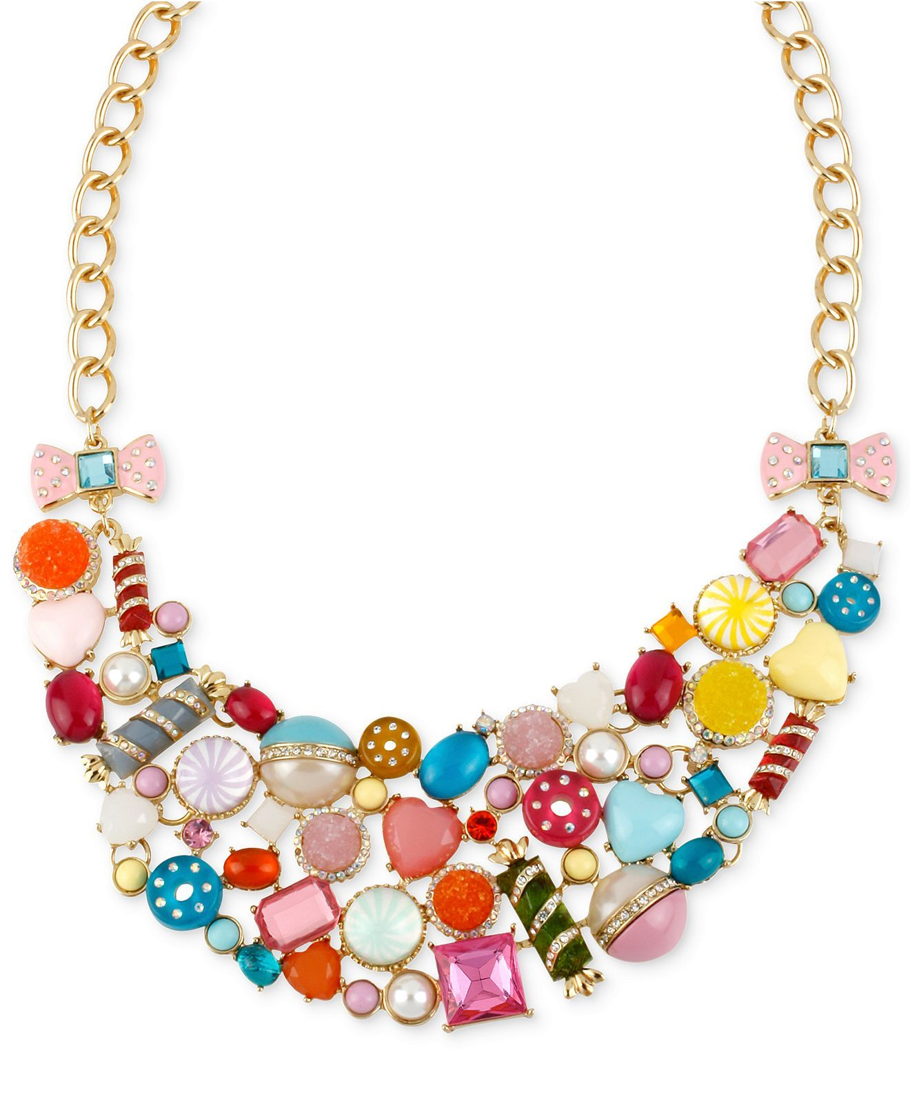 Betsey Johnson Gold-Tone Candy Charm Frontal Necklace - Fashion ...