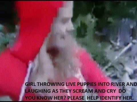 Vicious Girl Throwing 6 Live Puppies Into River Youtube