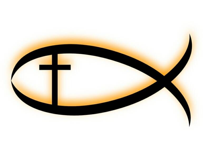 3d Red Christian Jesus Fish Emblem Sticker Religious Ichthus Symbol