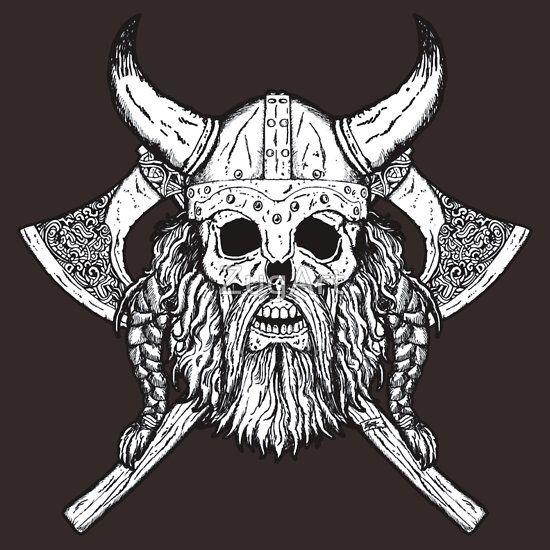 Bearded Viking Skull Viking Skull Warrior Tattoos Nordic Tattoo
