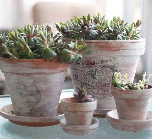 d corer des pots de terre cuite en style shabby chic 20 id es tutoriel easy plants. Black Bedroom Furniture Sets. Home Design Ideas