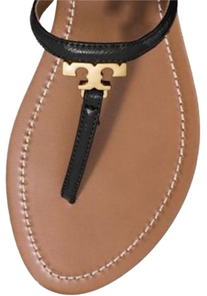 b2247a3cac00a Tory Burch Nib T Logo Saffiano Leather Thong Black Flip Flop 10.5 Gold  Sandals…