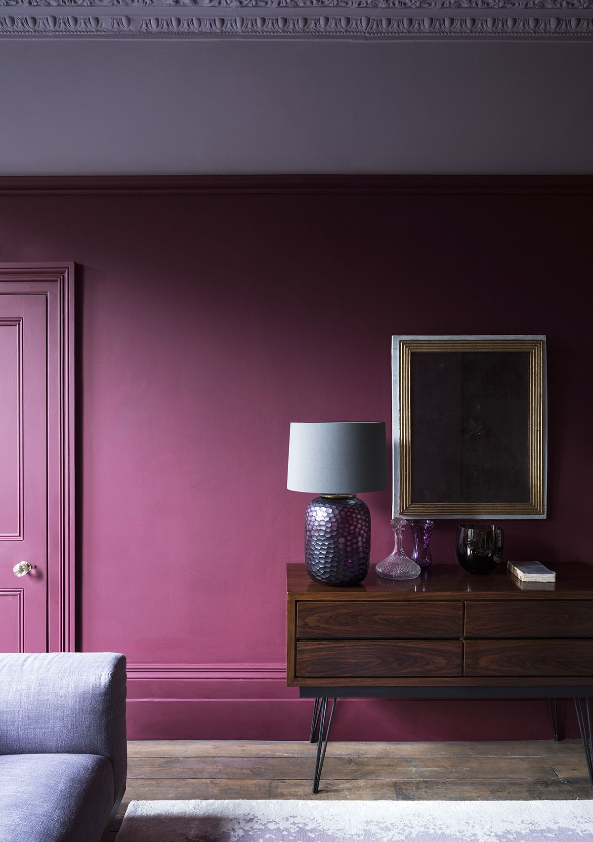Walls in Grenache 372 | Ceiling in Lady Char's Lilac 368  #paint #ideas #home #decor #pink #red #bold #livingroom