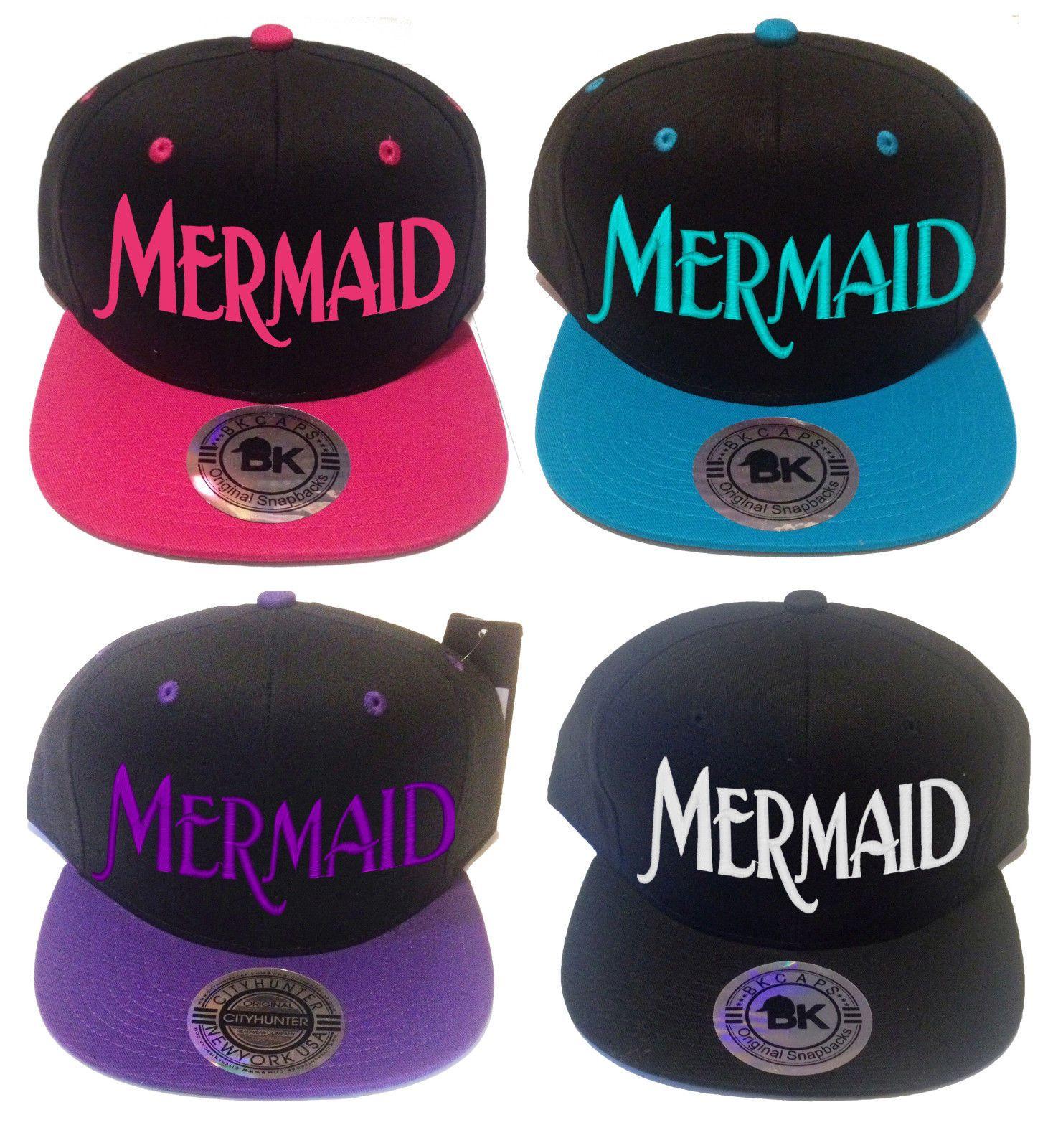 edbc4db09eb Mermaid Snapback Hat Flat Bill Cap