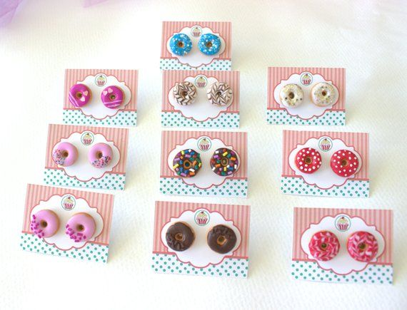 Donut stud earrings, polymer clay food, miniature food studs, birthday donuts, foodie gift, women g