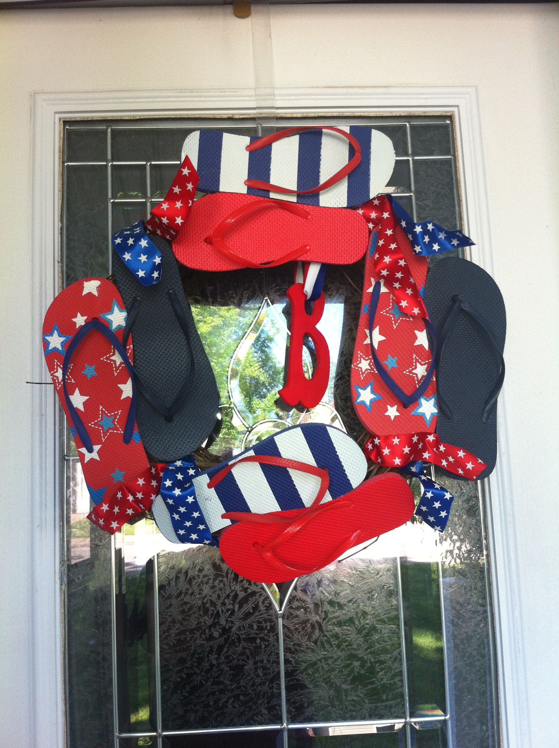 Celebrate America with all materials from the Dollar Tree :). Hot glued to an old wreath.