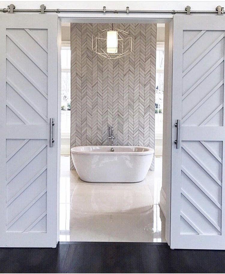 My Favorite Trends Herringbone Tile Tamara Day Modern Farmhouse Bathroom Barn Door Designs Interior Sliding Barn Doors