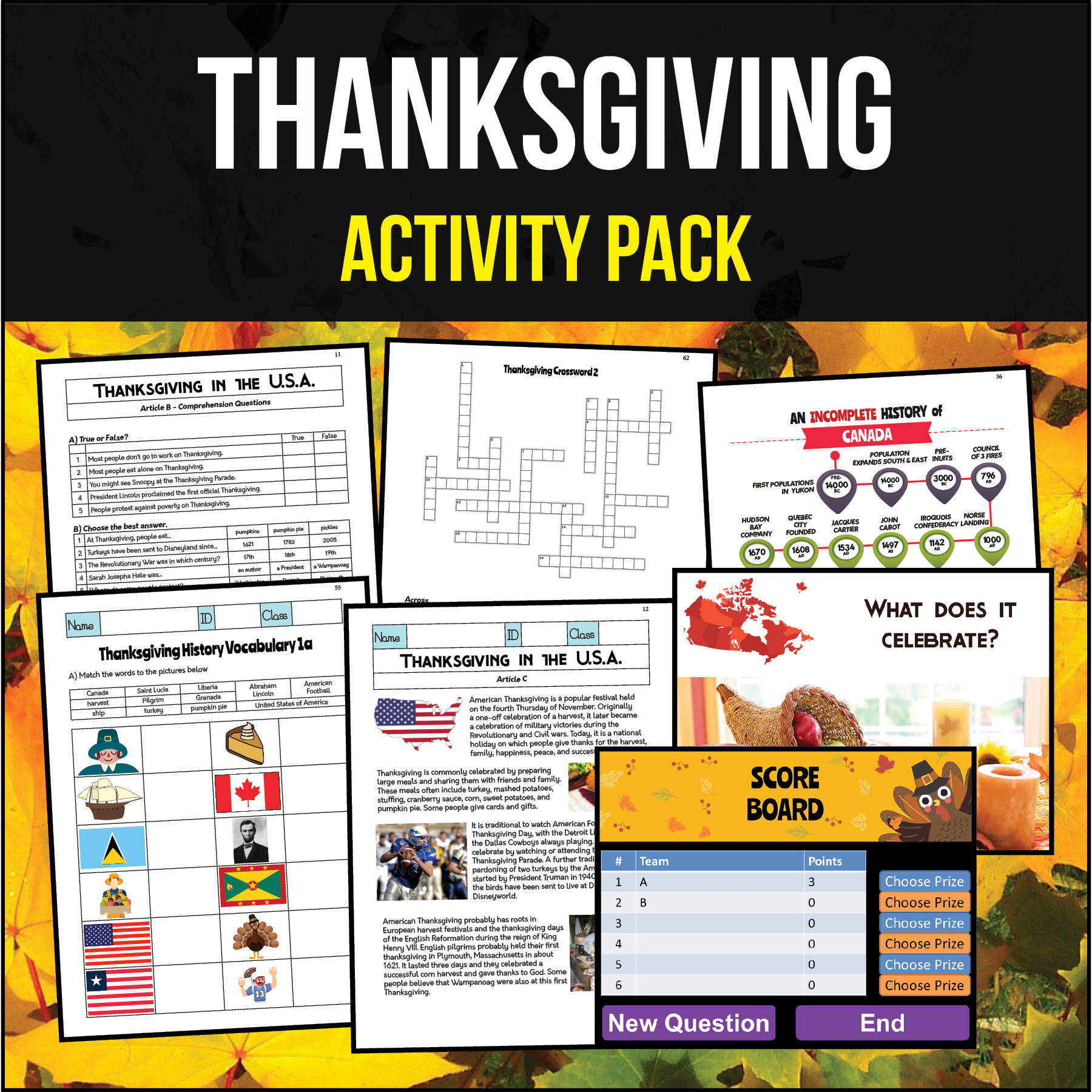 Thanksgiving Activity Pack Worksheets Powerpoints