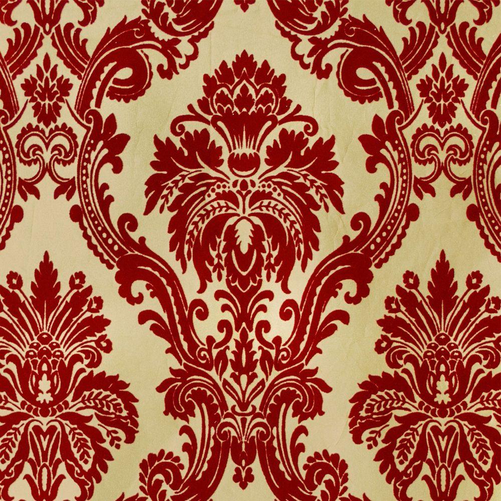 Exclusive casablanca velvet flock red gold damask wallpaper 11008 in 2019 patterns - Cream flock wallpaper ...