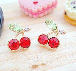Promoções pop Coreano doce brincos vermelho cereja requintado moda Declaração mulheres de jóias por atacado frete grátis