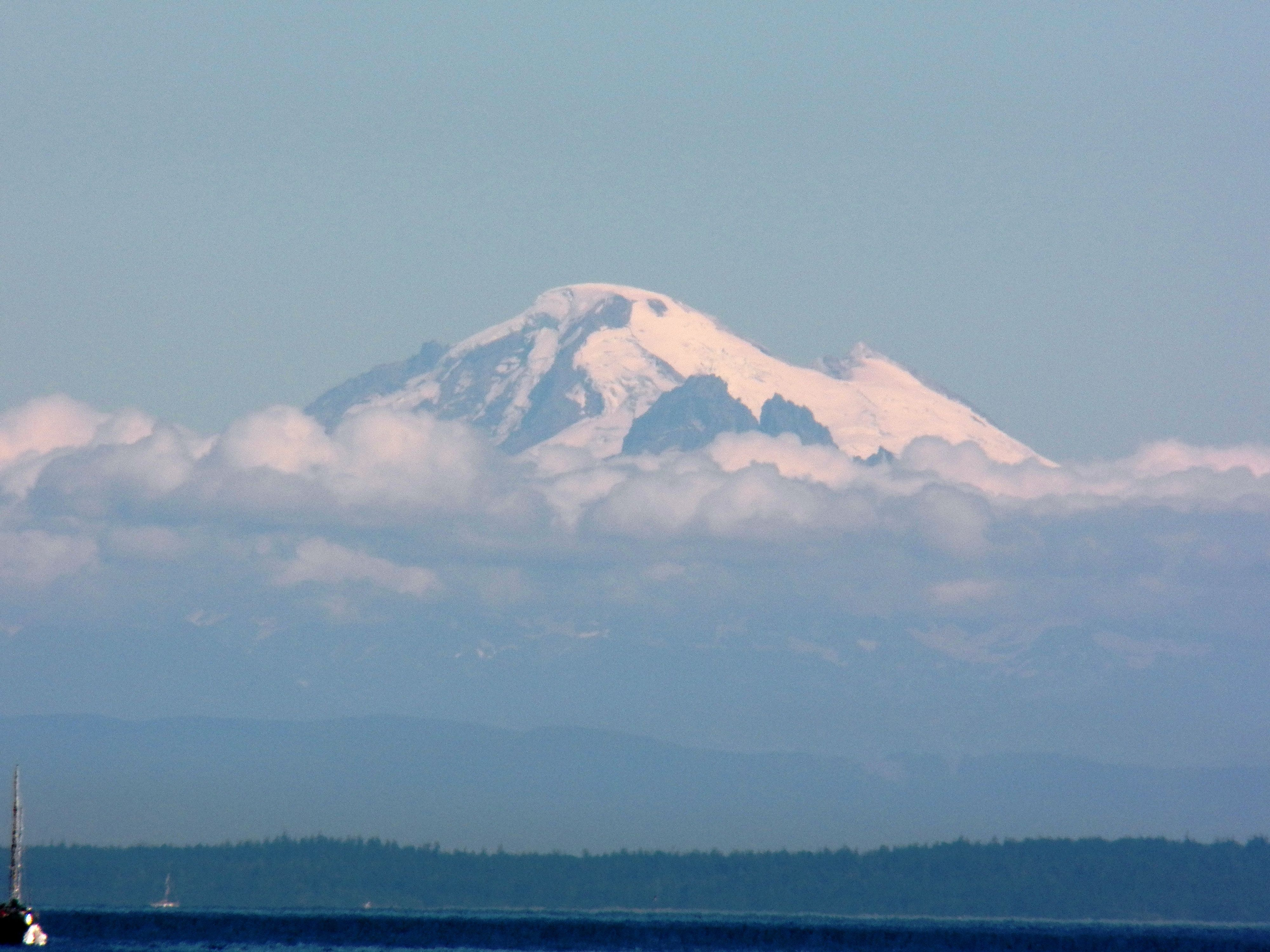View of Mt. Baker's summit from the Salish Sea Marine
