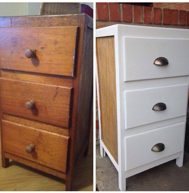 Free drawers transformed by grey chalk paint & cup handles