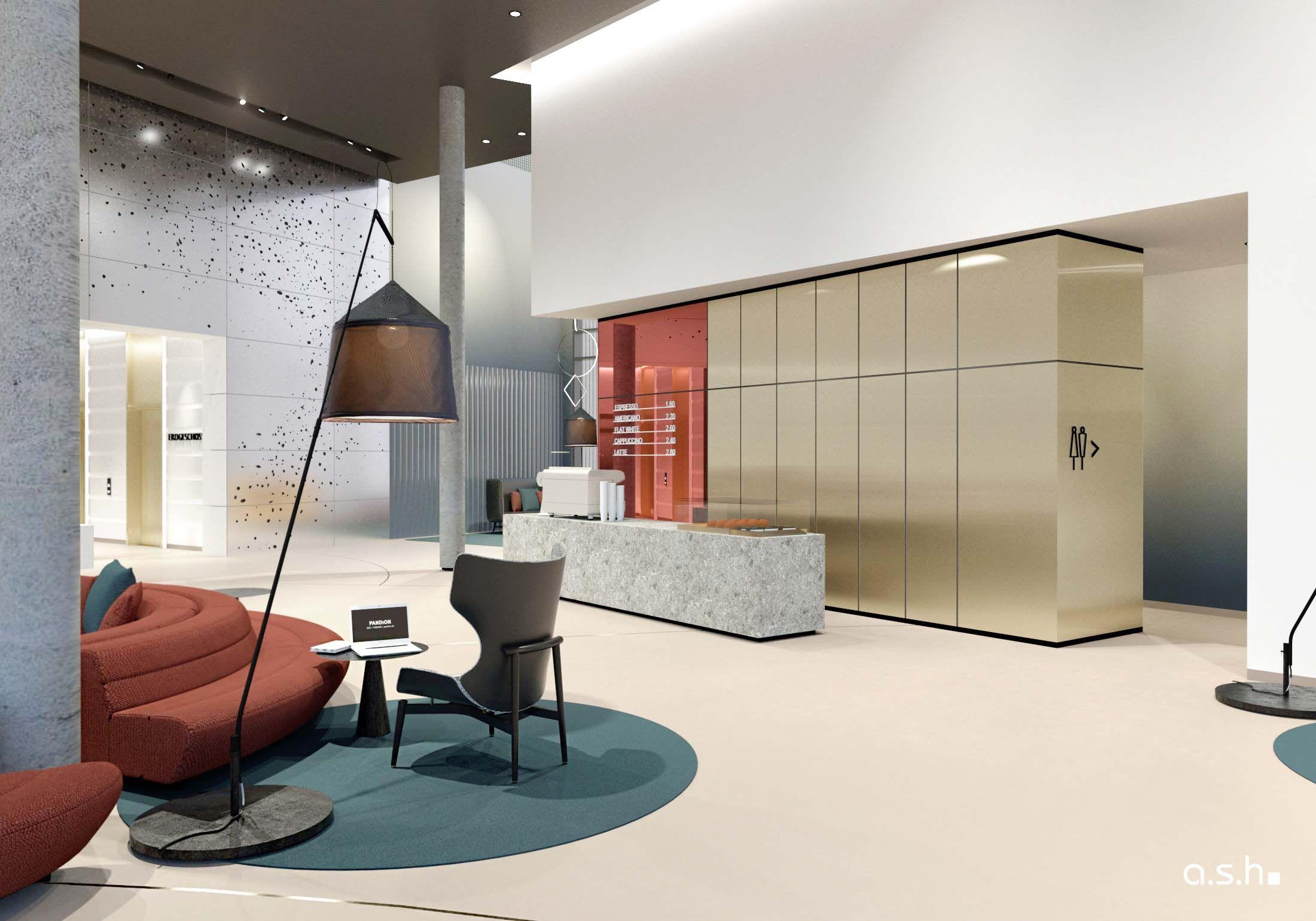 Foyer of Pandion in Düsseldorf   designed by studio a.s.h. ...