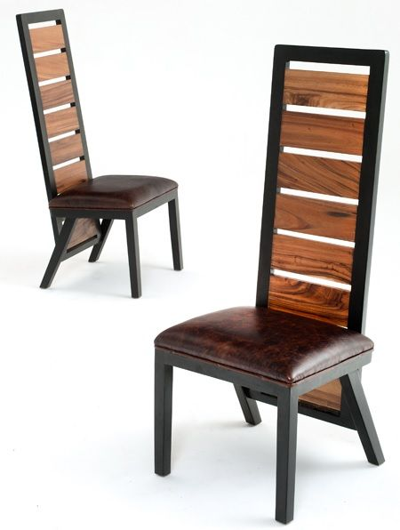 Wood Chair Design #9   Side Chair With Faux Leather Seat   Item # DC06041