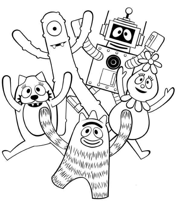 Yo Gabba Gabba Coloring Pages Yo Gabba Gabba Coloring Pages For Kids Gabba Gabba