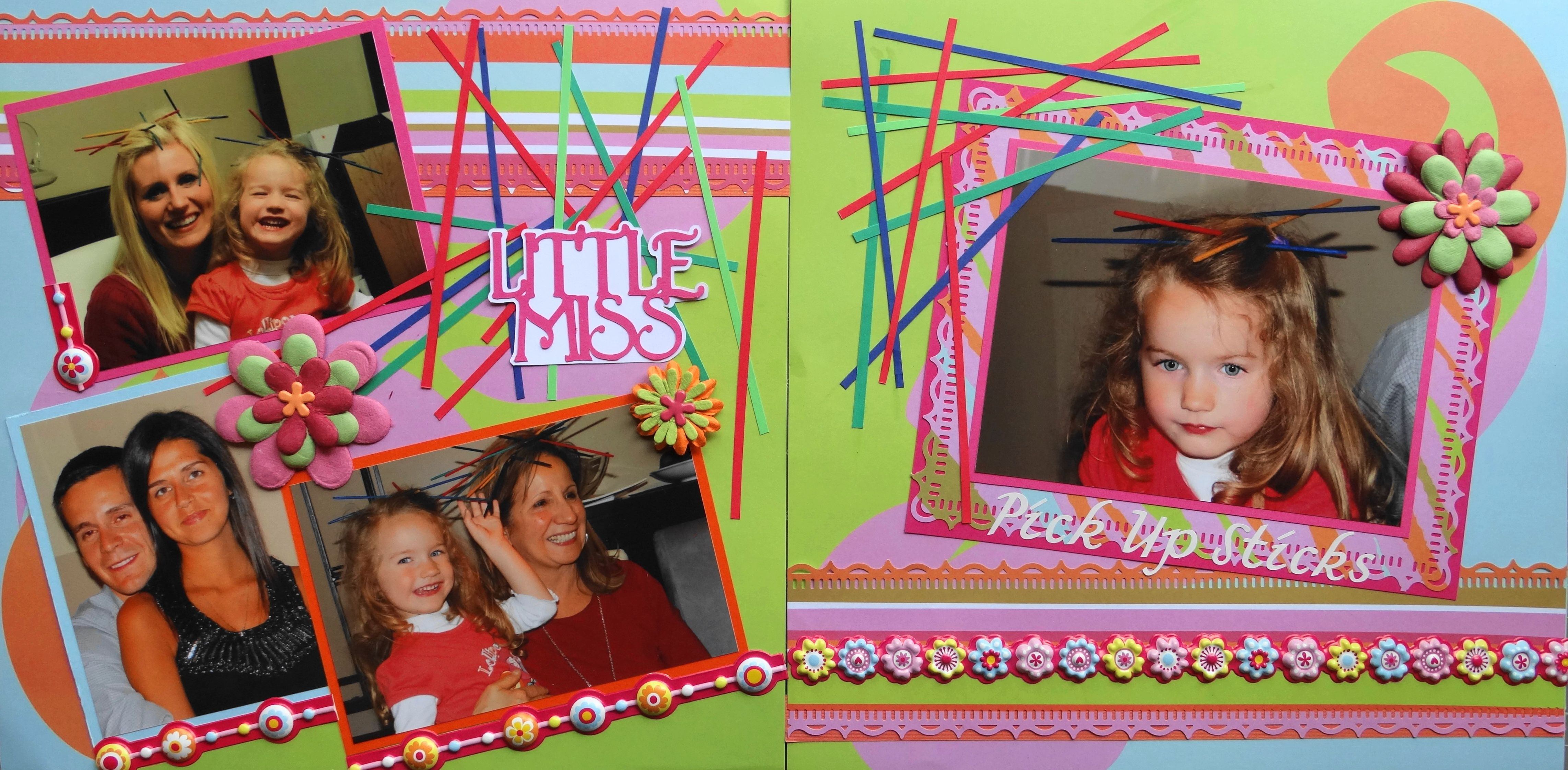 Family scrapbook ideas on pinterest - Scrapbook Page Little Miss Pick Up Sticks 2 Page Girl Layout From Everyday Life