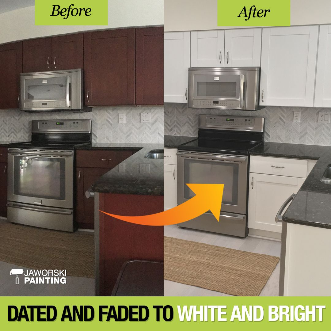 Dated And Faded To White And Bright Refinishing Cabinets Kitchen Cabinets Kitchen Appliances