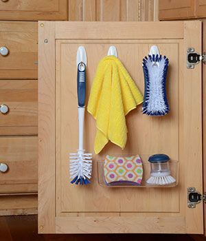 Store Cleaning Supplies On The Inside Of Cabinet Doors Easy To Grab Hidden With Images Home Organization Hacks Home Organization Storage And Organization